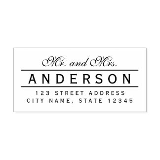 Line Elegant Mr and Mrs Name Return Address Self-inking Stamp