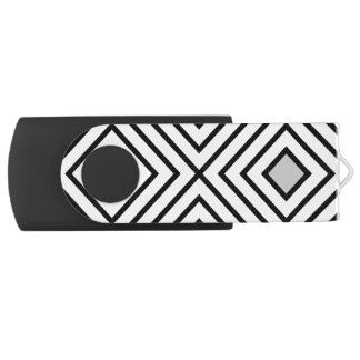 Line geometric Pattern black white 02 USB Flash Drive