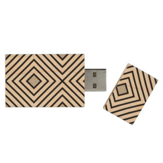 Line geometric Pattern black white 02 Wood USB Flash Drive