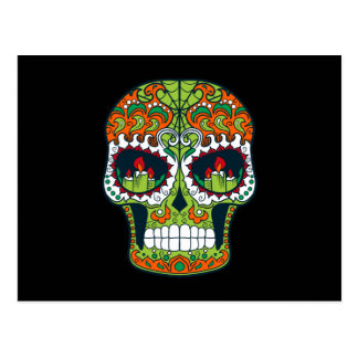 Line Green and Orange Sugar Skull With Candles Postcard