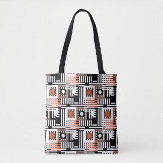 line mix round pattern tote bag
