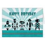 Line of Robots in Front of Sunburst Birthday Card