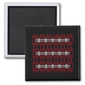 Line Pattern Simple Red Black White Hipster Modern Magnet