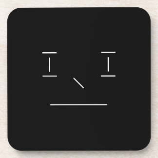 Line Smiley Serious Simple White Black Hipster Beverage Coasters