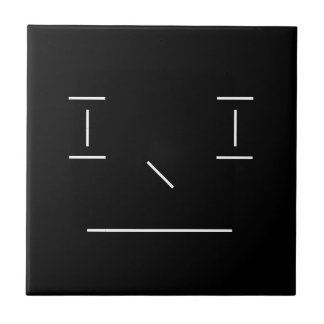 Line Smiley Serious Simple White Black Hipster Ceramic Tile