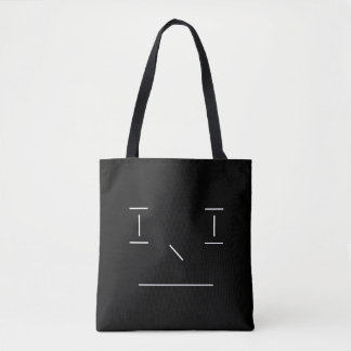 Line Smiley Serious Simple White Black Hipster Tote Bag