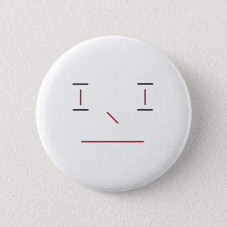 Line Smiley Simple White Black Red Hipster Modern 6 Cm Round Badge