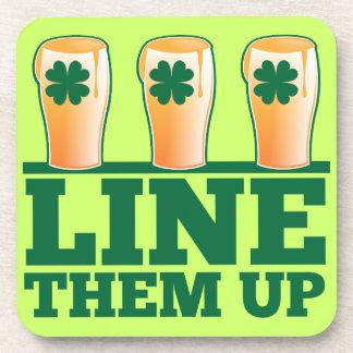 Line them UP green pints Irish Beer Drink Coaster