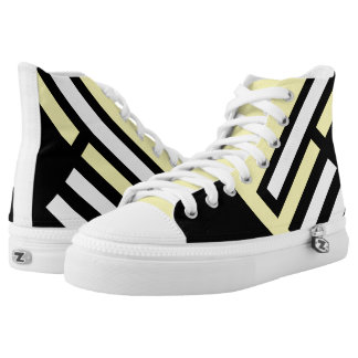 """Line Up"" Black/Yellow Pattern High Top Sneakers"