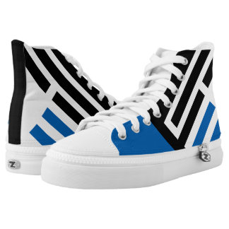 """""""Line Up"""" Blue/Black Pattern High Top Sneakers"""
