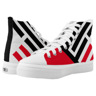 """""""Line Up"""" Red/Black Pattern High Top Sneakers"""