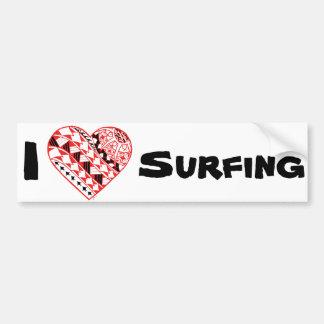 LineA I Heart Surfing (Polynesian) Bumper Sticker