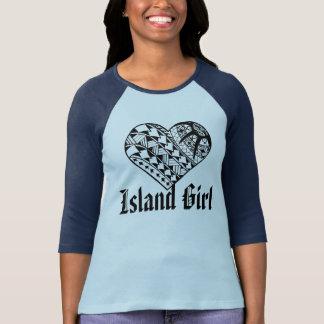 LineA Island Girl Black Polynesian Heart Tattoo T-Shirt