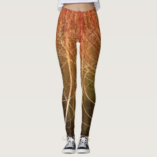 Linear Abstract2 Warm Colors - Leggings