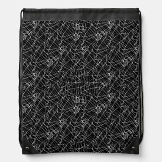 Linear Abstract Black and White Drawstring Bag