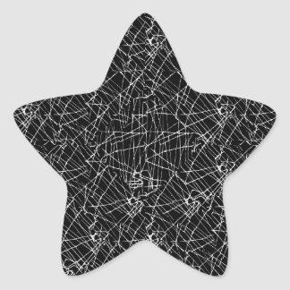 Linear Abstract Black and White Star Sticker
