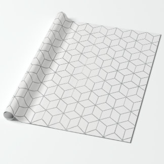 Linear Cubs Silver Geometry White Minimal Wrapping Paper