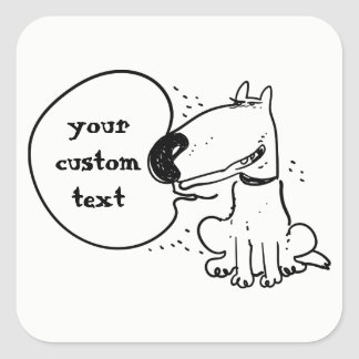 lineart dog funny cartoon square sticker