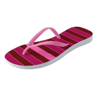 Lined Bars Pink-Brown Flip Flops