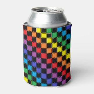 Lined Checkered Rainbow and Black Can Cooler