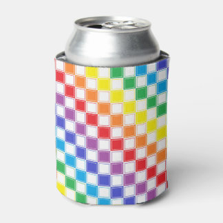 Lined Checkered Rainbow and White Can Cooler