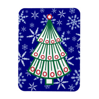 Lined Christmas Tree on Snowflake Blizzard Rectangular Photo Magnet