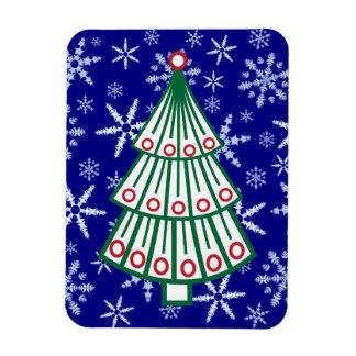 Lined Christmas Tree on Snowflake Blizzard Rectangular Photo Magnet