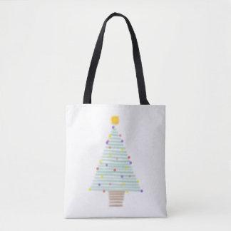 lined christmas tree tote bag