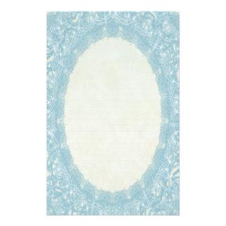 Lined Monogram Blue I Wedding Lace Stationery