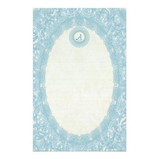 Lined Monogram Blue I Wedding p1 Lace Stationery