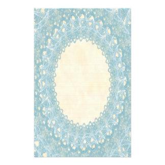 Lined Monogram Blue IV Wedding Lace Stationery