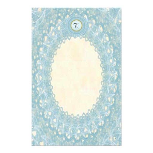Lined Monogram Blue IV Wedding p1 Lace Stationery