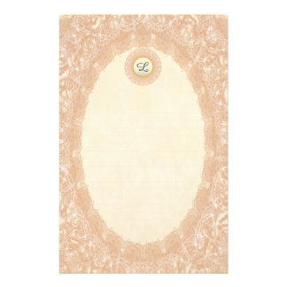 Lined Monogram Cream I Wedding p1 Lace Stationery