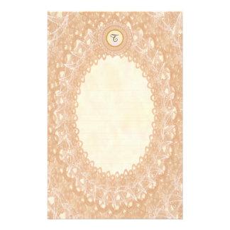 Lined Monogram Cream IV Wedding p1 Lace Stationery