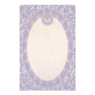 Lined Monogram Purple I Wedding p1 Lace Stationery