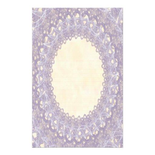 Lined Monogram Purple IV Wedding Lace Stationery