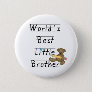 Lined Paper World's Best Little Brother 6 Cm Round Badge