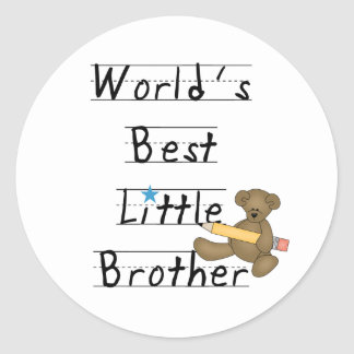 Lined Paper World's Best Little Brother Classic Round Sticker