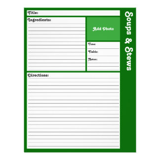 Lined Recipe Pages (Dark Green) 21.5 Cm X 28 Cm Flyer