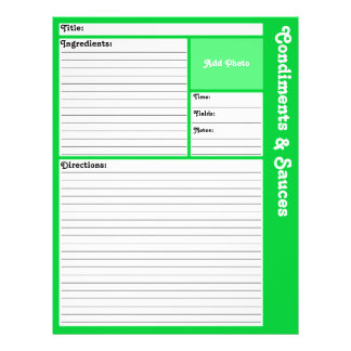 Lined Recipe Pages (Light Green) 21.5 Cm X 28 Cm Flyer
