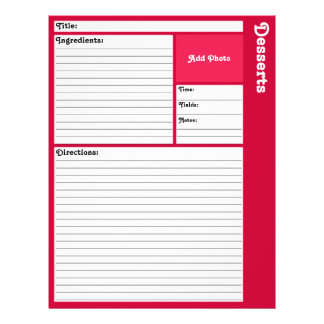 Lined Recipe Pages (Magenta)