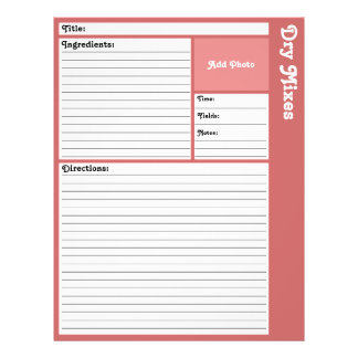 Lined Recipe Pages (Rose) 21.5 Cm X 28 Cm Flyer