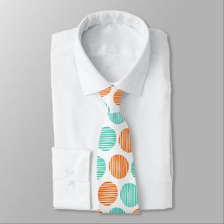 Lined Spots 190917 - Orange and Aqua on White Tie