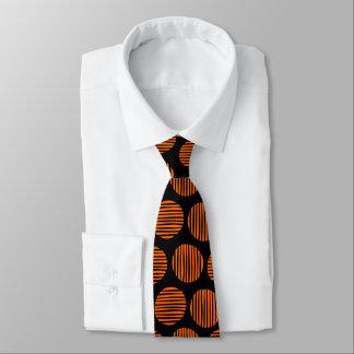 Lined Spots 190917 - Orange on Black Tie