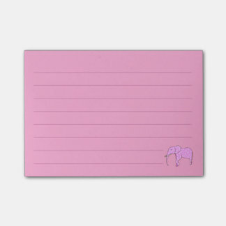 Lined White Polka Dots Pink Elephant Post it Notes