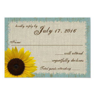 Linen and Barnwood Sunflower Response Card