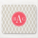 Linen and Coral Monogrammed Barcelona Print Mouse Mat