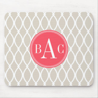 Linen and Coral Monogrammed Barcelona Print Mouse Pad