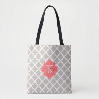 Linen and Coral Moroccan Quatrefoil Monogam Tote Bag