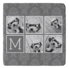 Linen and Grey Instagram 5 Photo Collage Monogram Trivet